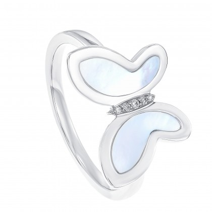 Mother of Pearl Diamond Butterfly Ring in 375/9K White Gold 261170821