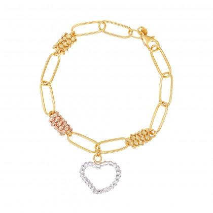 Oro Italia 916 Graffetta White, Yellow and Rose Gold Bracelet (13.15G) GW38040521-TI