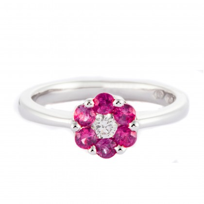 Round Cut Ruby and Diamond Ring in 750/18K White Gold 23564