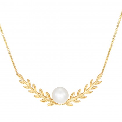 Aleyshia Pearl Diamond Necklace in 375/9K Yellow Gold NL103488