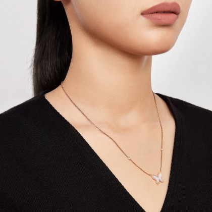 Mother of Pearl Diamond Butterfly Necklace in 375/9K Rose Gold 558660821(RG)